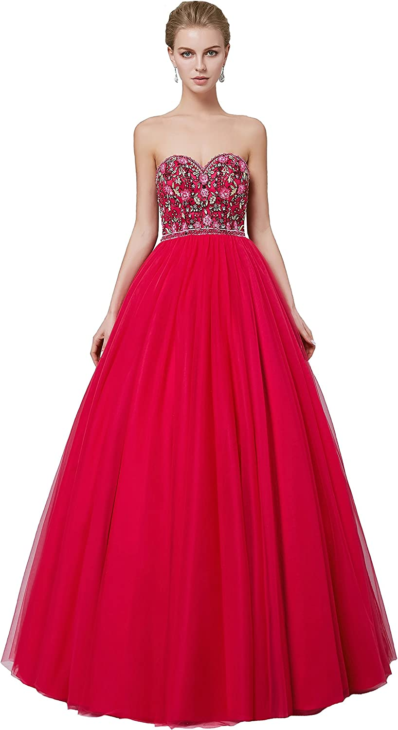 CuteShe Women's Colour Embroider Prom Homecoming Quinceanera Dresses Ball Gown Strapless