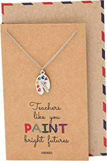 Quan Jewelry Artist Painter's Palette Necklace, Art Teacher Gifts with Greeting Card, Adjustable Stainless Steel Chain from 16-inch to 18-inch