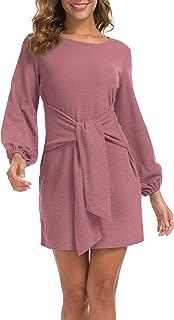 Women's Elegant Long Sleeve Dress Casual Tie Waist Sweater Dresses