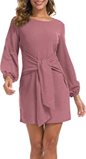 Women's Elegant Long Sleeve Dress Casual Tie Waist...