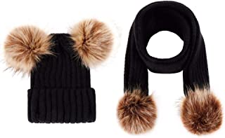 Infant Toddler Baby Double Pom Pom Ball Knit Beanie Cap Hat+ Scarf Gift Set