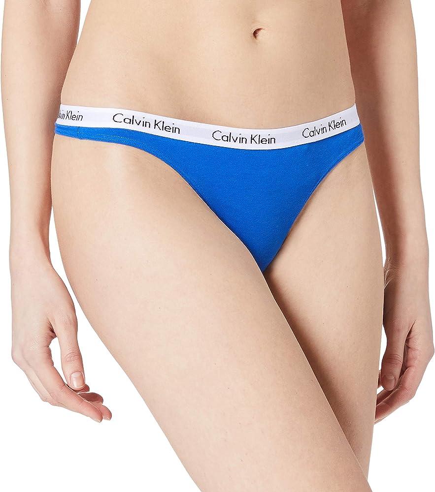 Calvin klein carousel  thong tanga, slip per donna , 90% cotone, 10% elastan , blu 0000D1617EA