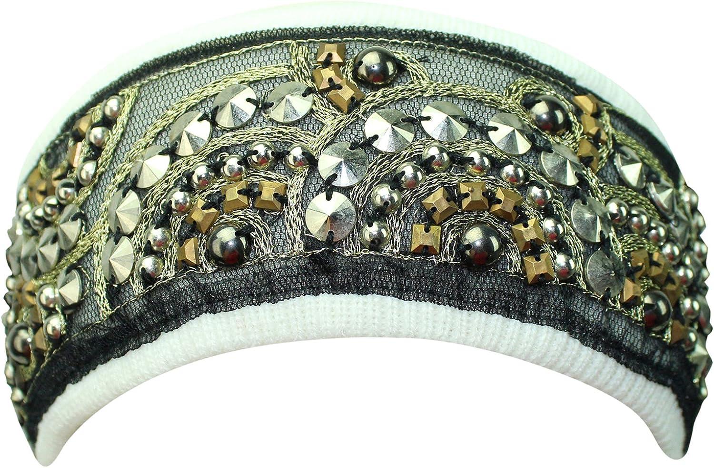 White Bohemian Style Beaded & Studded Headband