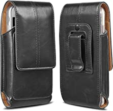 LUXMO Belt Clip Holster Pouch Genuine Leather Phone Case Holster with Card Slot Purse Belt Loop Pouch Bag Compatible for iPhone XR 7 8 Plus Samsung S8 Plus (Black)