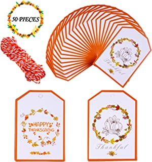 50 PCS Happy Thanksgiving Gift Tags - Thankful Giving Tag   Craft Tags   Gorgeous Cards with 33 Feet Strings for Thanksgiving Day Gift Wrap, Cookie Candy Baking Packaging, Thankful Party Table Decor