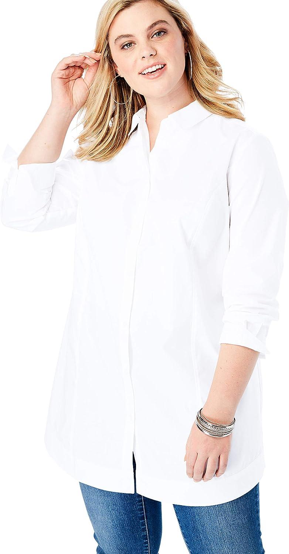 Roaman's Women's Plus Size Tie-Back Big Shirt Button Down Shirt Blouse
