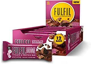 FULFIL Protein Bars, Chocolate Brownie, Snack Sized Bar with 15g Protein and 8 Vitamins Including Vitamin C, 12 Counts