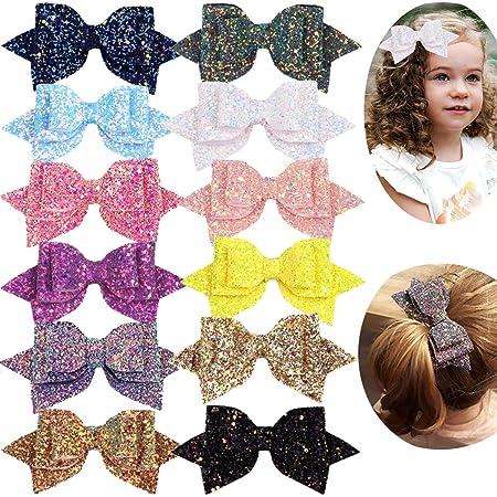 Glitter Hair Bows \u2022 Hair Clips \u2022 Pigtails\u2022 Piggies