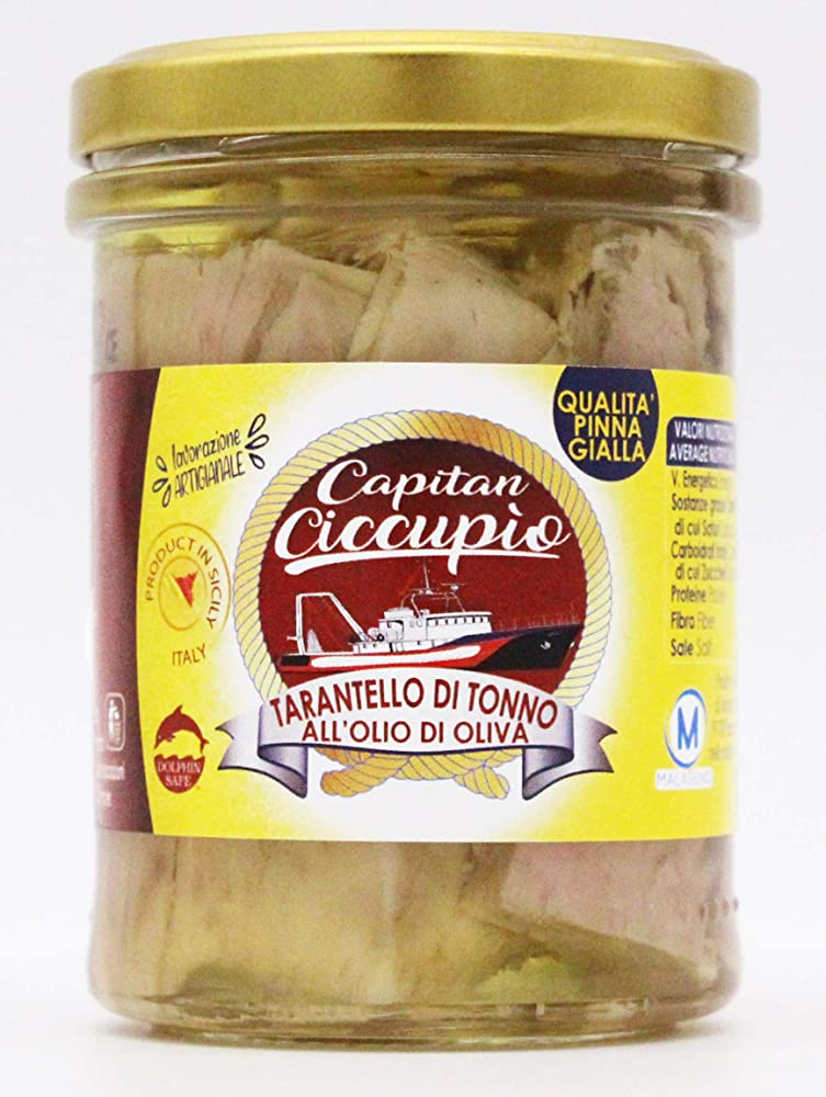 capitan ciccupio pezzetti di tonno pinna gialla,prodotto e lavorato secondo metodi artigianali in sicilia. linea gourmet,300 gr