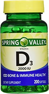 Spring Valley twin pack vitamin d3 2000I.U. Immune Health/Bone Health, 200 so…