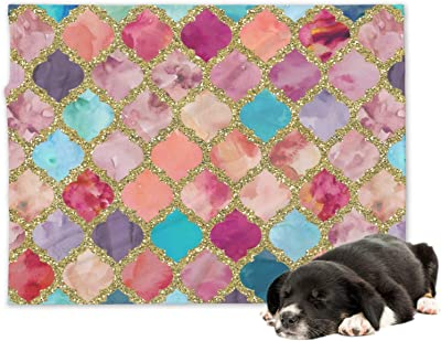 48258881aeb0 YouCustomizeIt Glitter Moroccan Watercolor Minky Dog Blanket - Large  (Personalized)
