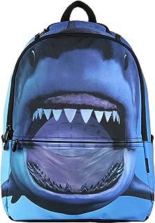 Hynes Eagle Printed Emoji Pattern Backpack (Blue Shark)