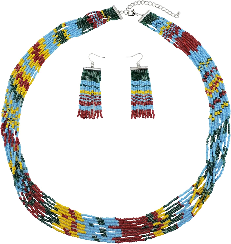 Bocar Multi Layer Beaded Statement Necklace Set Mix Strand Necklace Earrings Bracelet Jewelry Set