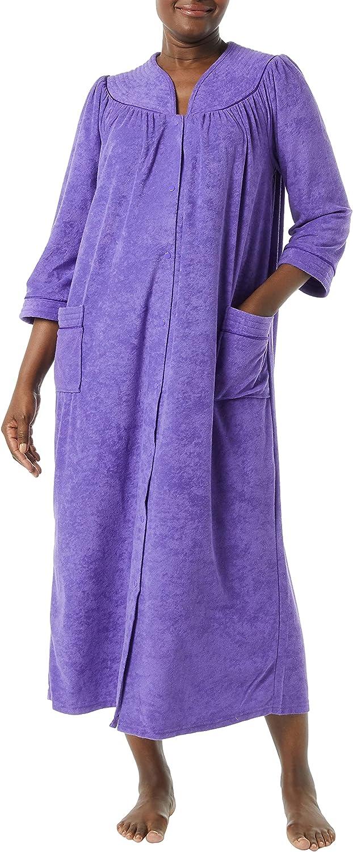 AmeriMark Women's Terry Knit Long Robe – Bath Robe w/ Snap Front & Trapunto Trim