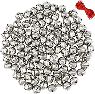Outuxed 100Pcs 1 Inch Silver Jingle Bells Christmas Craft Bells for Festival Decoration with 20m Red Cord