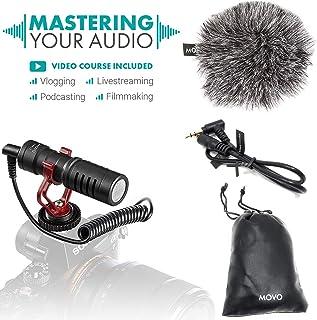 Micrófono para Vídeo Universal Movo VXR10 con Soporte Amortiguador, Paravientos Deadcat, Estuche para Smartphones iPhone/Android, Cámaras y Videocámaras Canon EOS/Nikon DSLR
