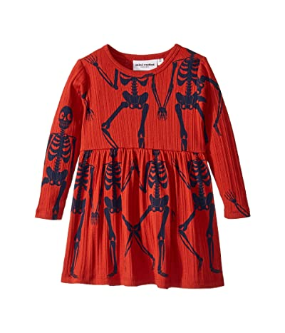 mini rodini Skeleton All Over Print Long Sleeve Dress (Infant/Toddler/Little Kids/Big Kids) (Red) Girl