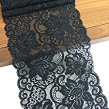 5 Yard 5199 Black LaceRealm 7 Inch Wide Floral Stretchy Lace Elastic Trim Fabric for Garment /& DIY Craft Supply