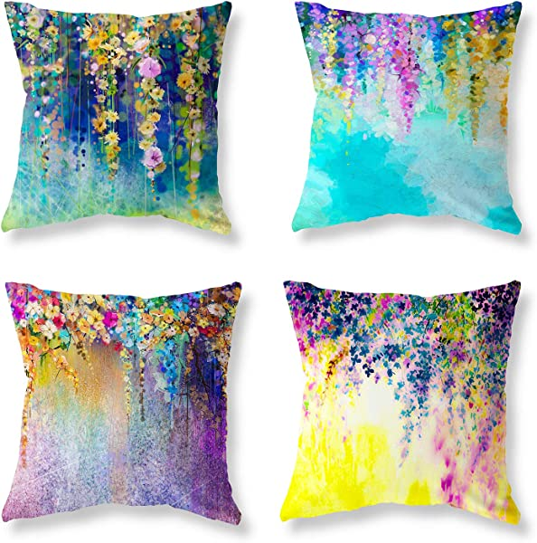 Set Of 4 Throw Pillow Covers Decorative Pillowcases 18x18 Inch Cotton Linen Pillow Cover Summer Theme Colorful Flowers Printed Game Pillow Case Suitable For Gift Sofa Bed Chair Auto Seat