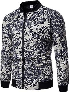Men's Multicolor Floral Printed Slim Fit Zipper Lightweight Bomber Jacket