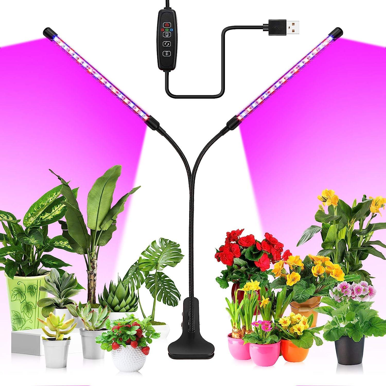 KOOSEED Luz de Plantas Interior de 40 LEDs de 20W,Lámpara de Planta de Cuello 360° giratorio con 3 Modos y 10 Niveles de Brillo Regulable,LED Cultivo con Cable y Temporizador Automática. (3H/9H/12H)