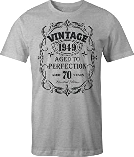 9 Crowns Tees Men's Vintage Moto 1949 Aged to Perfection 70th Birthday T-Shirt-Black-XL