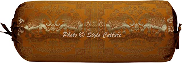 Stylo Culture Indian Decorative Brocade Bolster Pillow Cover Mustard Yellow Gold Floral Silk Jacquard Weave Round Neck Pil...
