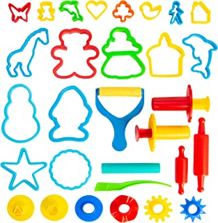 Best KIDDY DOUGH Tool Kit for Kids - Party Pack w/ Animal Shapes - Includes 24 Colorful Cutters, Molds, Rollers & Play Accessories for Air Dry Clay & Dough Review