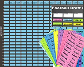 iiSPORT 2019 Football Draft Kit with 588 Color-Coded Player Name Stickers, 14 Teams and 20 Rounds Extra Large Full Color Board, 62