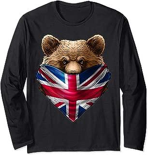 England UK Flag California Bear Wearing British Flag Bandana Long Sleeve T-Shirt