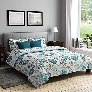 RAGO RELISH FLORAL PRINT TURQUOISE AND GREEN Double Bedsheet Set