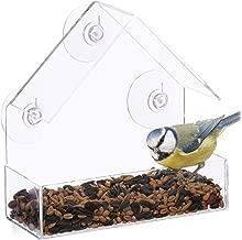 Relaxdays Fenster-Vogelfutterhaus, für Wildvögel, 3 Saugnäpfe, Futterstation mit Dach, HBT: 15 x 15 x 7 cm, transparent