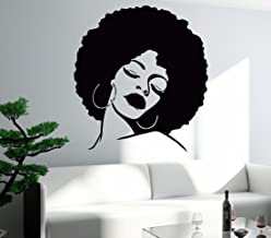 Wall Sticker Vinyl Decal Black Lady Face Hot Sexy Hair Salon Mural (z596) (L 28.5 in X 34.2 in)