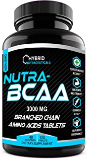 BCAA 2:1:1 3000 mg Pre and Post Workout Supplement Pills, Amino Acids Supplements for Endurance, Recovery, Performance, Post Workout Recovery, Non-GMO (120 Tablets)