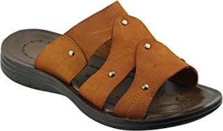 Mens Real Leather Tan Black Slip On Open Toe Summer Mules Beach Holiday Sandals Walking Sleepers