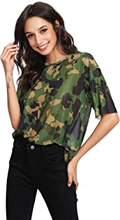 MAKEMECHIC Women's Summer Half Sleeve Tops See Through Mesh Sheer Sexy T-Shirt Blouse