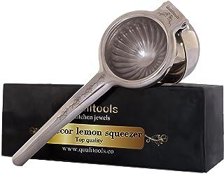 Qualitools Premium Lemon Squeezer - Decorative Stainless Steel 304 Manual Citrus Juicer - Sturdy, Durable