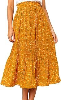 ECOWISH Women's Skirts Boho Long Summer Skirt A-line Spots Pleated Skirt Casual Maxi Beach Skirt With Pockets