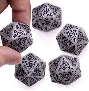 Battle-Scarred Jumbo d20 Polyhedral Dice (5-Pack) | Distressed Giant Twenty-Sided Dice with Extra Abrasion for Natural Imperfections | Gray Faux Stone Look for Tabletop RPGs, D&D, Adventure Games