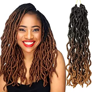 Eerya 6Pcs Gypsy Faux Locs Crochet Braids Hair Pre-Looped Goddess Faux Locs Wavy Twist Hair Dreadlocks Nu Locs Synthetic Braiding Havana Mambo Twist Hair Extensions (14Inch, 3 Tone Ombre T1B/30/27#)
