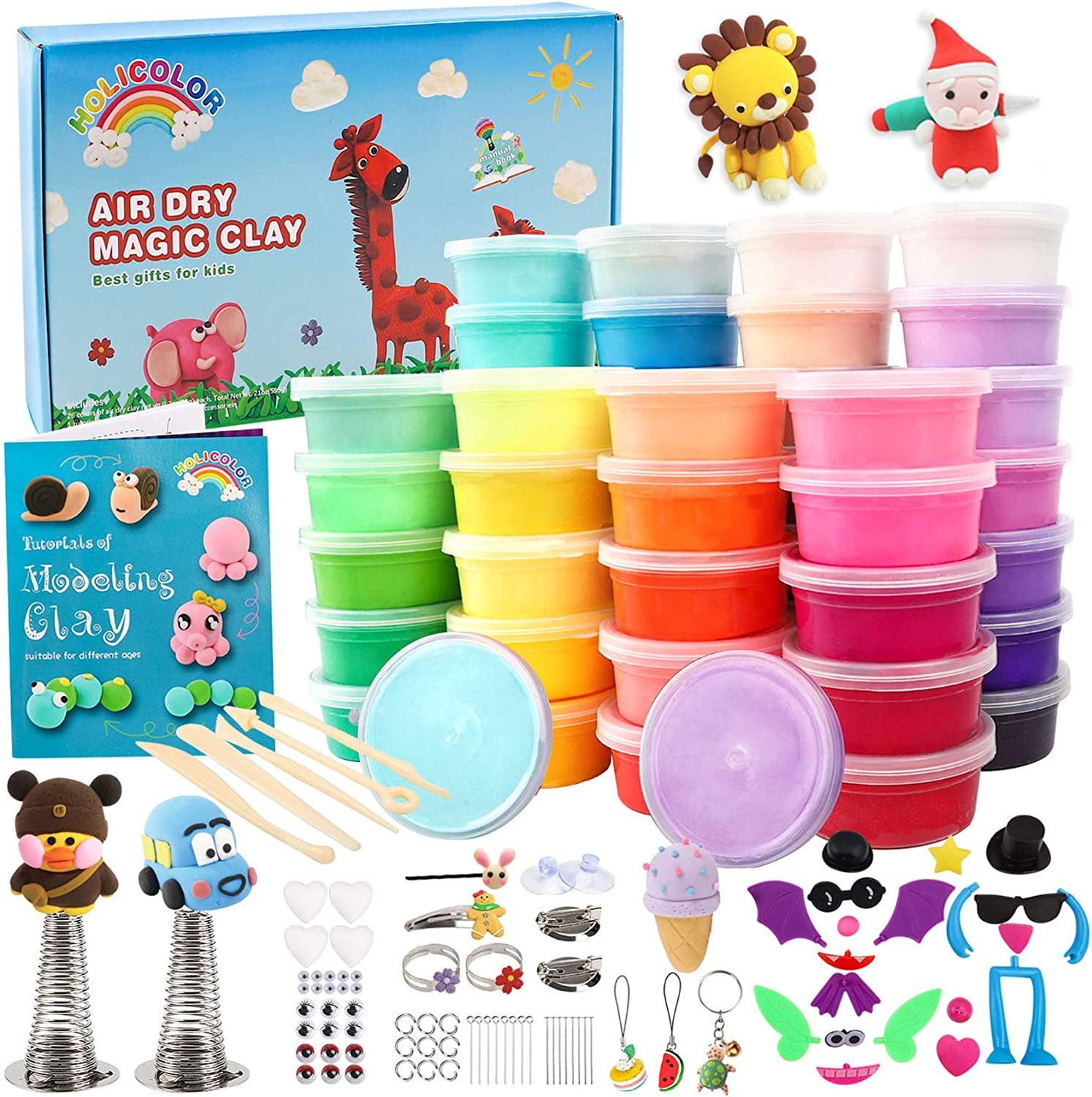 HOLICOLOR 50 Colors Air Dry Clay Magic Clay for Kids Includes Extra 1 White and 1 Black Kids Arts and Crafts Kit with Accessories and Tools, Best Gift for Girls and Boys 3-12 Year Old