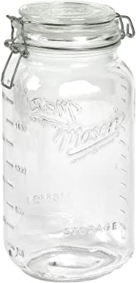 Mason Craft & More Airtight Kitchen Food Storage Clear Glass Clamp Jars, 101 Ounce (3 Liter) Extra Large Clamp Jar