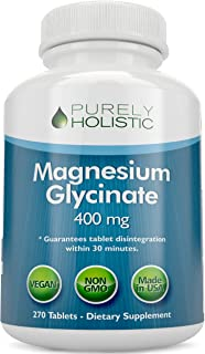 Magnesium Glycinate 400mg - 100% More 270 Magnesium Tablets (not Capsules), Highly Bioavailable, Non Buffered, Vegan and V...