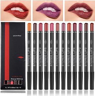 Lip Liner Pencil Set, 12 Color Matt Smooth Waterproof Natural Long Lasting Make Up Lipliners by Chnaivy
