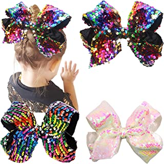 8 Inches Bows For Girls Glitter Sequins Boutique Big Hair Bow Clips For Teens Toddlers Kids Children Accessory