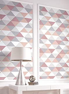 NextWall Mod Triangles Peel and Stick Wallpaper. (Pink & Gray)
