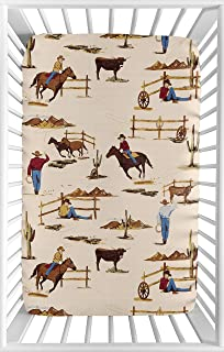 Sweet JoJo Designs Cowboy Western Baby Fitted Mini Portable Crib Sheet for Wild West Collection