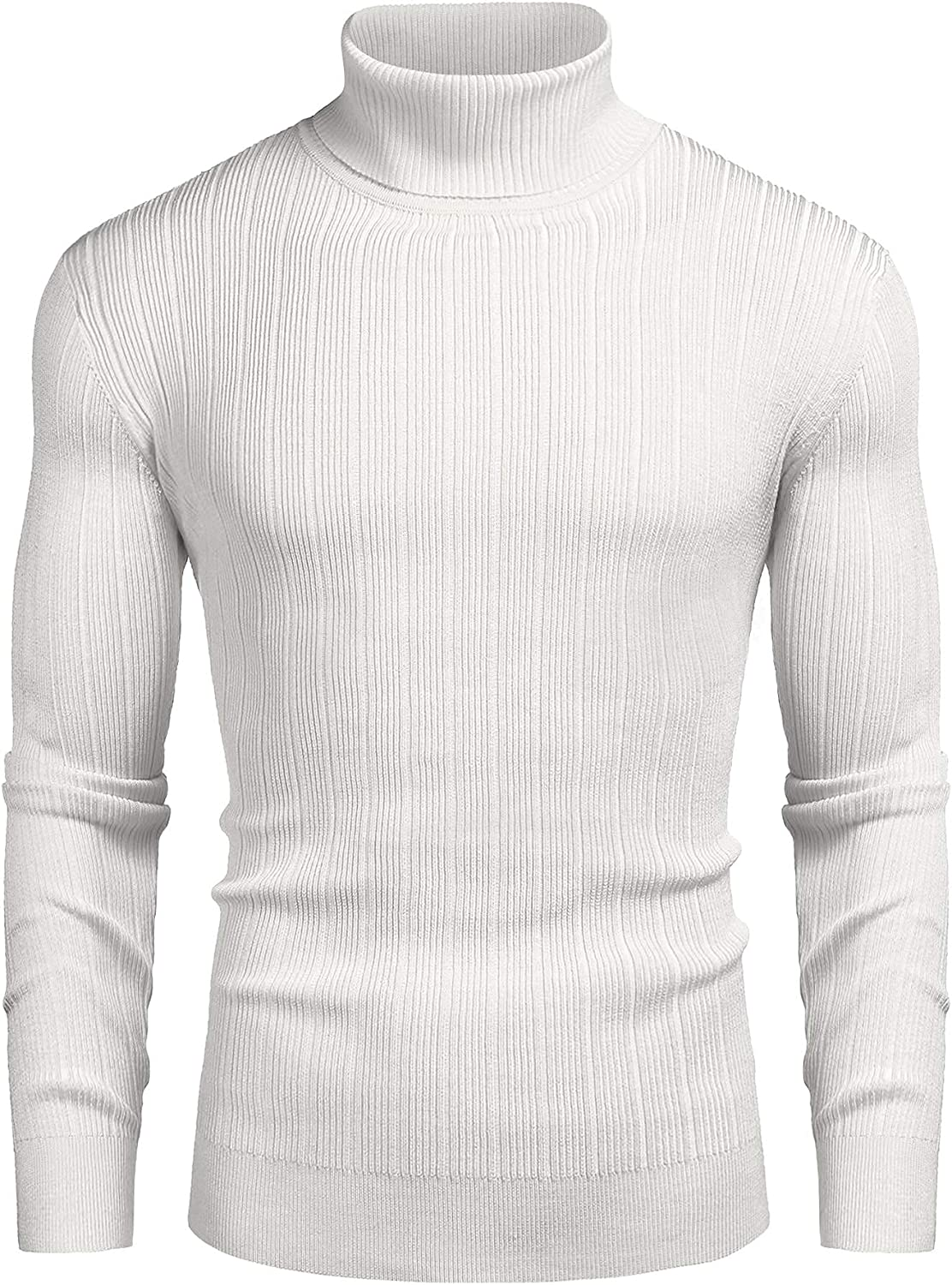 COOFANDY Men's Slim Fit Turtleneck Sweater Ribbed High Neck Pullover Sweaters