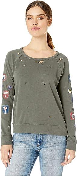 Military Patch Cotton Fleece Raglan Pullover