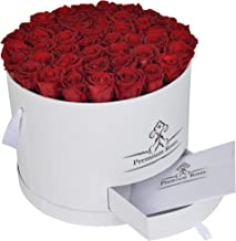Premium Roses| Real Roses That Last a Year | Fresh Flowers| Roses in a Box (White Box, Large)